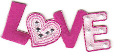 """LOVE"" PATCH w/SILVER STUDS-Iron On Embroidered Applique/Hearts, Words, Love"