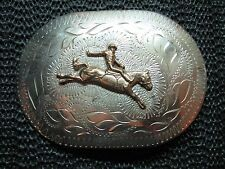 COWBOY RODEO BUCKING BRONCO BELT BUCKLE! VINTAGE! RARE! HAND CRAFTED! USA! LOOK!