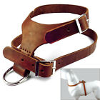 Brown Handmade Real Genuine Leather Pet Dog Harness for Medium Large size Dogs
