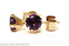 9ct Gold Amethyst Stud earrings. 4mm, Gift Boxed Made in UK