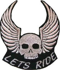 Iron On/ Sew On Embroidered Patch Badge Lets Ride Skull Wings