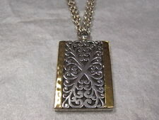 "Lois Hill Sterling Silver 18k Rectangle Pendant 20"" open cut & hammered"