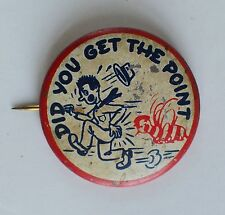 Did You Get The Point (Bee Trying To Sting Running Man) Pinback Button (Humor)