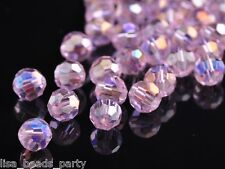 100x Round Faceted 6mm Crystal Glass Jewelry Making Loose Spacer Beads Pink AB