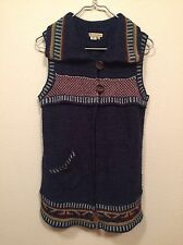 Royal Robbins Women's Wool Blend Long Sleeveless Two Button Sweater Vest Med