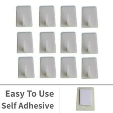 STRONG STICKY BATHROOM KITCHEN WALL SELF ADHESIVE STICK ON WHITE PLASTIC HOOK