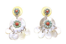 LADIES RETRO PEARLY STONE CHIC HIPPY INSPIRED TRENDY STAND OUT EARRINGS(ZX51)