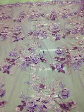 embroidery/FLORAL EMBROIDERY LACE FABRIC/1yd*1.48yd/sequins/purple mesh