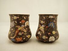 SIGNED Koransha Pair of Meiji Japanese painted studio ware bird & floral vases