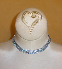 Vintage Evening Triple Strand Necklace or Choker in Blue Topaz Rhinestones