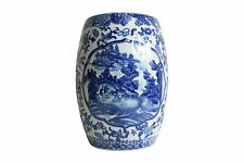 Beautiful Blue and White Blue Willow Miniature Porcelain Garden Stool 8.5""
