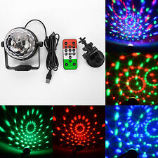 3W Mini RGB LED Stage Light Sound Active 3 Leds USB Remote Car Disco Ballroom