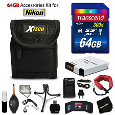 64GB ACCESSORIES Kit for Nikon S9200 w/ 64GB Memory + Battery + Case