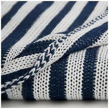 CoCaLo Lattice Bamboo Baby Knit Stroller Blanket Navy Blue / White