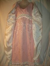 Vintage Original Bernetti New York Pink Brocade Evening Gown & Cape Crystals M