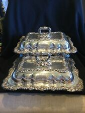 INCREDIBLE PAIR c1800 GEORGIAN SILVER SHEFFIELD PLATE Covered ENTREE DISHES