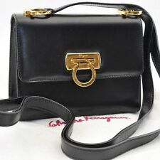 Authentic  Salvatore Ferragamo Gancini Mini Sholder Bag Leather Black #S1494