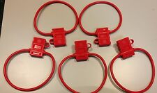 5 PACK 10 GAUGE ATC FUSE HOLDER IN-LINE AWG WIRE COPPER 12 VOLT W/COVER