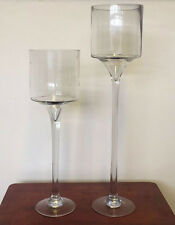Set of 2 Large Glass Centrepiece Wedding Candle Holder Events Decorative Vase