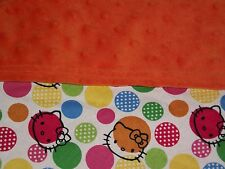Hello Kitty Flannel Orange Minky Dots Security Blanket Toddler Baby Lovey Custom