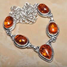 "Handmade Baltic Faux Amber Gemstone 925 Sterling Silver Necklace 21"" #N00698"