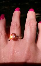 Golden Champagne Morganite solitaire w/accents ring, sterling silver, size 6