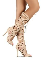 Nude Strappy Heels Open toe Pumps Women's shoes Knee-high Lace up Sandal US sz.8