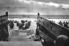 Framed Print - World War 2 Beach Landing at Normandy Picture Poster Military WW2