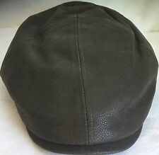 STETSON REDDING COWHIDE DRIVER HAT NEWSBOY IVY CAP BROWN LEATHER XL 61CM