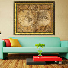 Vintage Style Retro Cloth Poster Globe Old World Nautical Map Gifts Home Decor R