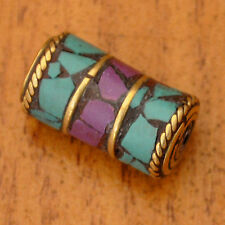UB2231A Nepalese Handmade Turquoise Howlite Purple Brass 1 Bead from Nepal