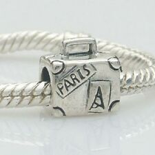 Suitcase Paris Travel Solid 925 Sterling Silver Charm Bead Fit European Bracelet