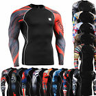 mens compression skin tight shirts sport baselayer running gear Top S~4XL