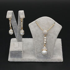 Noble Gold Plated Pearl Rhinestone Crystal Long Pendant Necklace Earring Set new