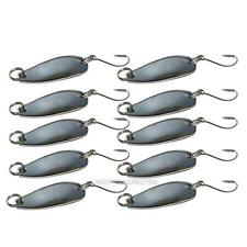 10 Pcs Metal Fishing Lures Bass CrankBait Spoon Crank Bait Hooks Tackle Silvery