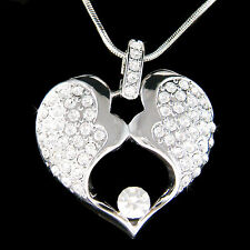 w Swarovski Crystal MOM Mother Love Baby Child Husband Wife Lover Heart Necklace