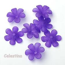 20 x Purple Lucite 8 x 33mm Frosted Flower Beads - Cup Flower Bells - Daisy PB95
