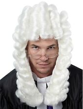 Judge Barrister Court  Lawyer Deluxe White Fancy Dress Wig