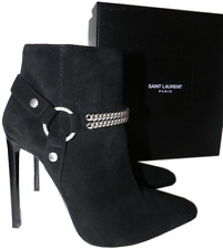 $1495 YSL Yves Saint Laurent Pointed Toe Chain Pump Bootie 40- 9 Ankle Boot