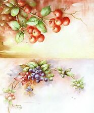 #46 Blueberries & Cherries China Painting Study by Sonie Ames 1971