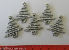 Silver Glittering Christmas Trees Card Embellishments by Dress It Up 4980