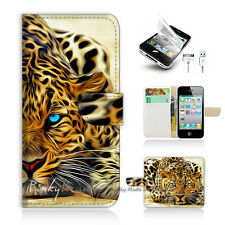 iPhone 4 4S Print Flip Wallet Case Cover! Blue Eye Leopard P0354