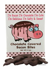CHOCOLATE COVERED BACON BITES - CRISPY BACON PIECES DIPPED IN DARK CHOC 2 OZ BAG