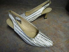 NORMA B. WOMENS SHOES HEELS PUMPS GOLD/WHITE SIZE 8 N SLING BACKS vintage