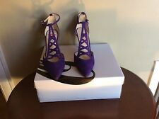 New nine west sz 6 primadona purple suede dress pump heel