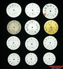 Lot of 12 Assorted ANTQ Pocket Watch Dials 4 Repair or Fun! Some Private Labels