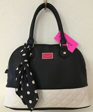 BETSEY JOHNSON DOME SATCHEL SCARF QUILTED BONE BLACK CROSSBODY HAND BAG NWT