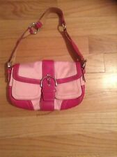 Coach Leather/canvas Messenger Handbag Bright Pink