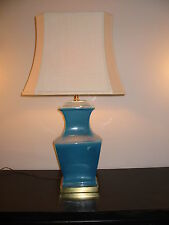 Authentic Paul Hanson Blue Torquoise LG Table Lamp Original Shade Mid-Century