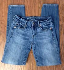 Women's AMERICAN EAGLE Skinny STRETCH Jeans Whiskered Medium Wash Size 0 Short